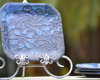 Personalized Ceramic Dinnerware, Platters, Serving Bowls, Wedding Favors- Use your own Lace or Doily!