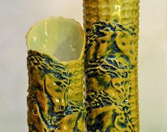 Horse vase, running horse pottery, ceramic horse vase,  Hand Sculpted, horse lover gift, anniversary gift, gift for her, Running horses