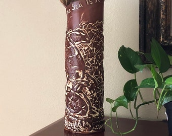 """Psalms / """"The sea is His and He made it"""" / Religious gift for wedding couple / sea turtle vase / ceramic vase for beach lovers, wedding gift"""