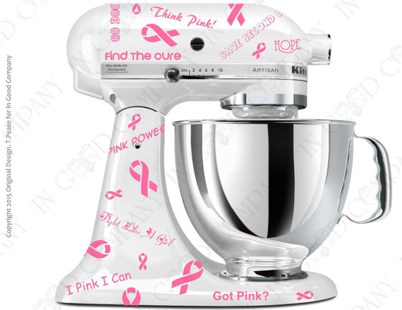Breast Cancer Awareness Decal Kit for your Kitchenaid Stand Mixer - 1  Dollar will be donated to the Susan G. Komen Foundation from each sale