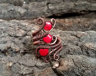 Copper Ring, Wire wrapped ring, 3 red porcelain hearts, ring adjustable, valentines gifts idea for her