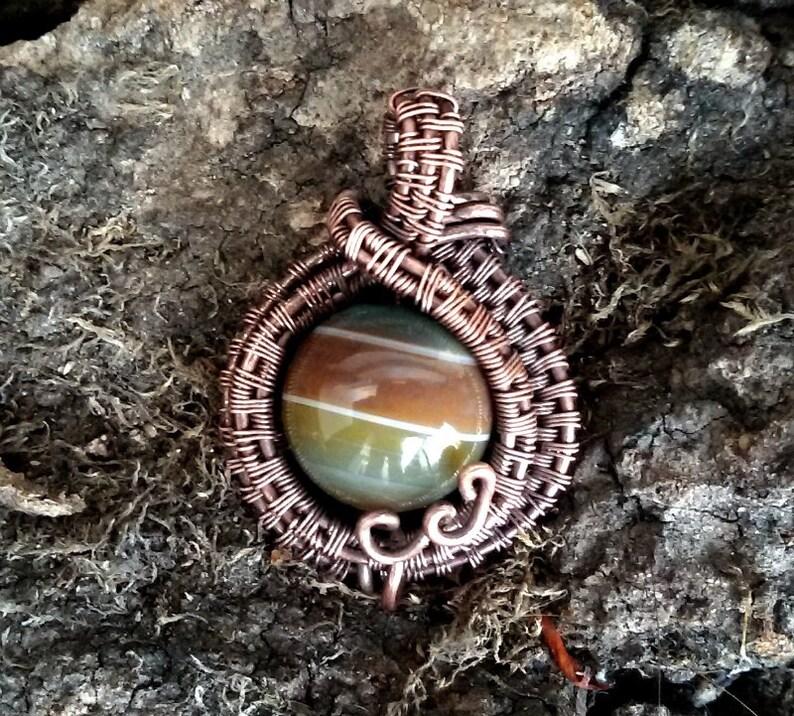 Agate Copper Wire wrapped mini Pendant Western jewelry Striped agate and oxidized copper