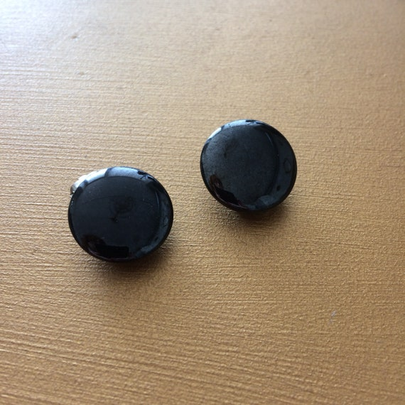 Black clip on earrings, 60s, 50s, vintage earrings