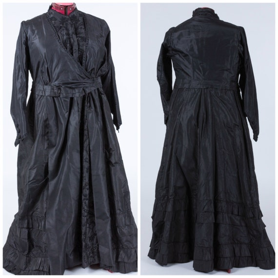 Antique mourning gown, victorian, late 1800, 1900,