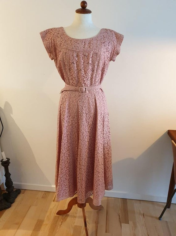 1950s dress, prom, pink, large, vintage dress, ret