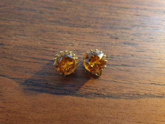 Yellow, Sparkly Rhinestone, vintage Clip On Earrin
