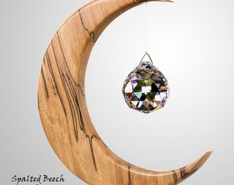 Moon Suncatcher - Gift from Ireland - Wood & Crystal - Mother's Day - Wooden Gift  LARGE Version