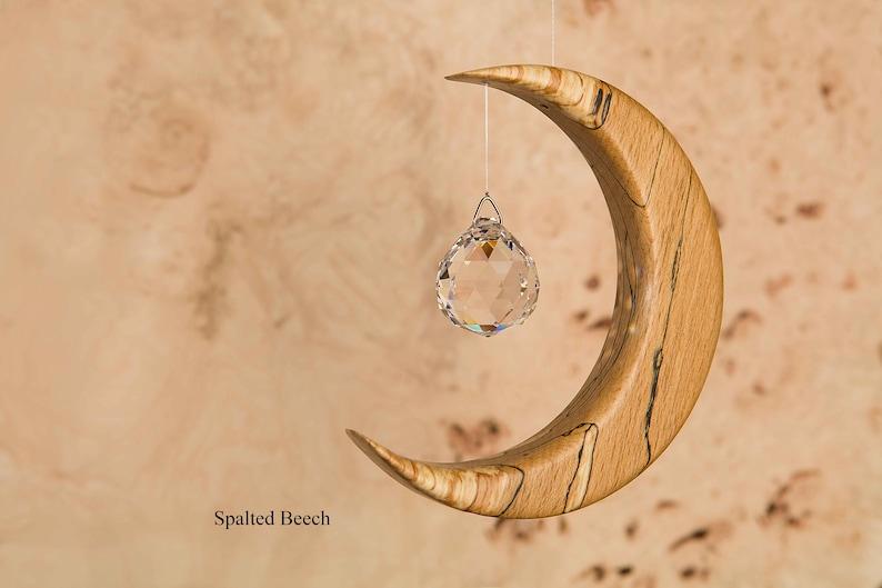 Suncatcher Crystal  Moon  Wooden Gift  Memorial Gift  image 0
