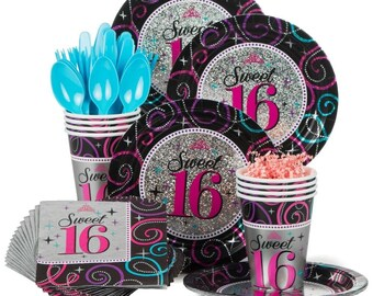 64 Pc Sparkling Glitz Sweet 16 16th Birthday Celebration Party Pack Service For With Bonus Balloon Bouquet
