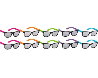 a31628928ad Pack Of 8 Plastic Neon Sunglasses - 80 s Party Favors - Selfie Props - Fun  For Birthday Parties   More Awesome Celebrations!