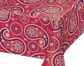 54 X 108 Inch Premium Plastic Table Cover   Red Bandana Paisley Print  Western Party Theme Birthday And Celebration Tablecloth