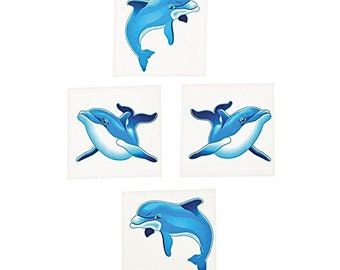 330a14c8b5cad One Dozen Assorted Dolphin Theme Temporary Tattoos - Fun Birthday Party  Favors - Kids Treat Bag Fillers