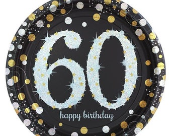 60th ANNIVERSARY MOD PLASTIC DESSERT PLATES Party Supplies FREE SHIPPING
