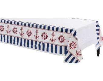 54in Wide X 102in Long Reusable Nautical Plastic Table Cover   Picnic  Tablecloth   Beach   Clam Bake   Summer Celebration   Seaside Party