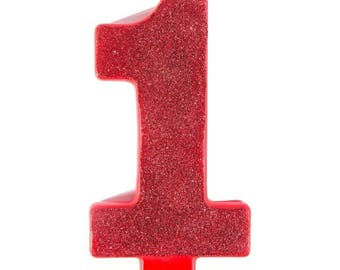 Giant 5 Inch Tall Red Glitter Number One Candle