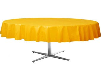 Strong Reusable 84 Inch Round Plastic Table Cover   Tablecloth   Sunny  Yellow