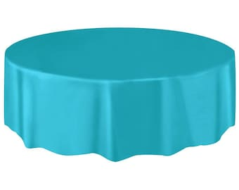 Bon Strong Reusable 84 Inch Round Plastic Table Cover   Tablecloth   Turquoise    Caribbean Blue