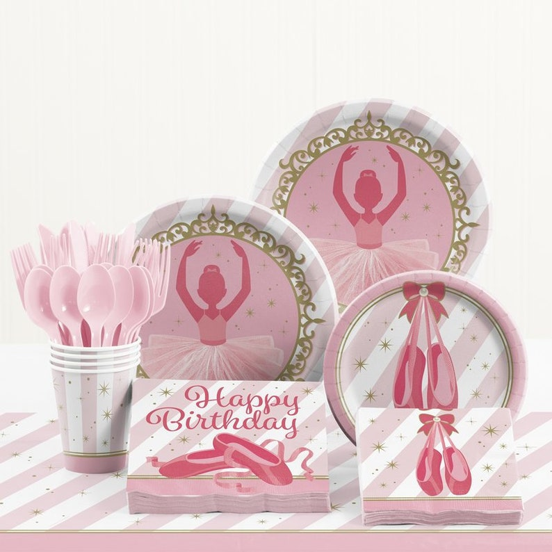 Service For 16!! 141 Pc Beautiful Pink /& Gold Ballet Dancer Birthday Tableware Celebration Set With Table Cover And Balloons!