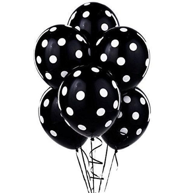 Set Of 6 Premium 12 Inch Black & White Polka Dot Print Latex Balloons - Photo Props - Fun Colorful Birthday Party Decorations!