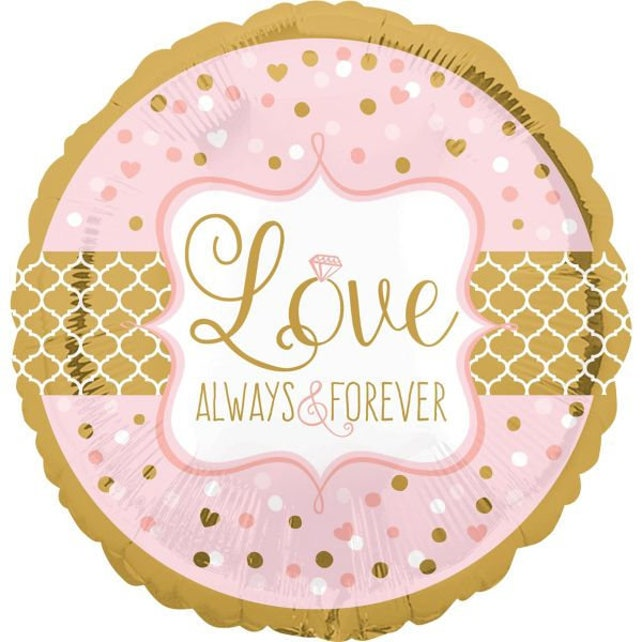 17 Inch Sparkly Pink & Gold Foil Balloon Beautiful Wedding Reception - Engagement Party Decor!