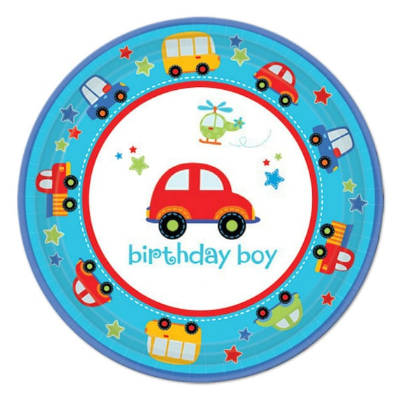 Sturdy Dessert Size Paper Plates for a Transportation themed birthday party