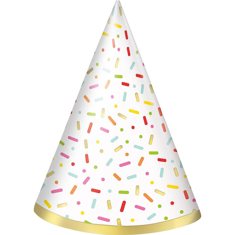 Cone Happy Birthday Party Hats for Kids and Adults Sweet Shoppe Standard Size Set of 8