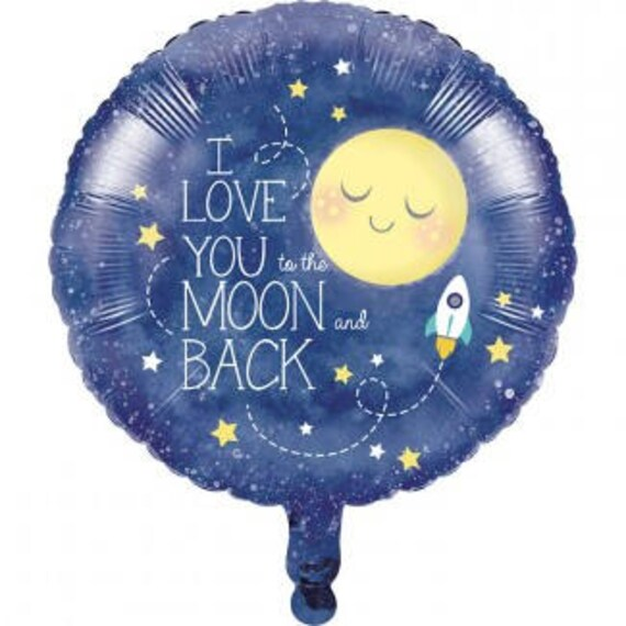 18 Inch Moon And Stars Foil Balloon - Gender Neutral - Sip & See - Baby Shower - I Love You To The Moon And Back