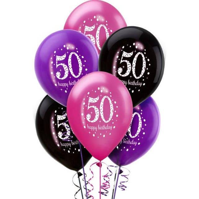 Pack Of 6 Colorful Pinks Sparkling Celebration 50th Birthday Balloons - Turning 50 - Birthday - Milestone Birthday