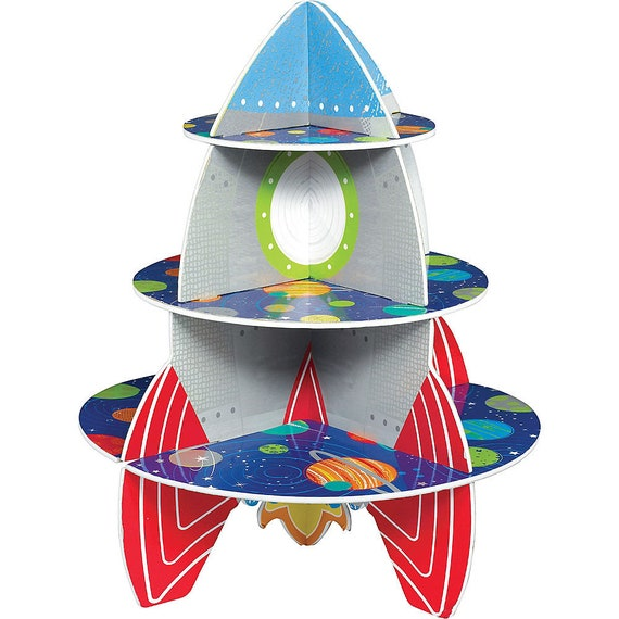 Space Blast Cupcake Display Stand - Space Travel Theme 1st Birthday Party - More From This Theme In this Shop