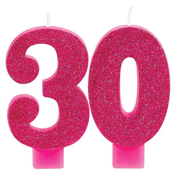 Glistening Pink Glitter 30th Birthday Candle Set
