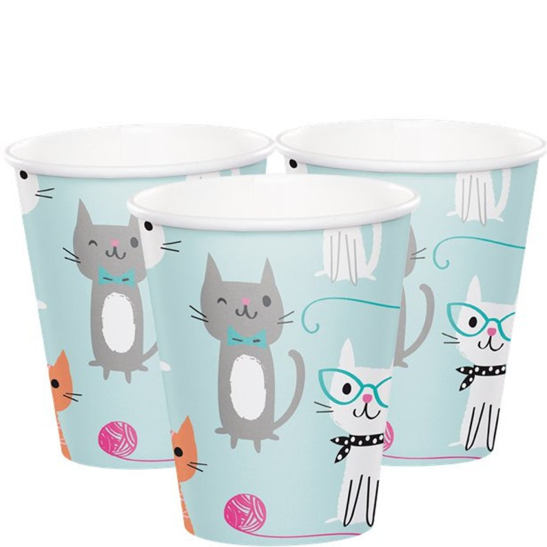 Cups /& Napkins! Adorable Purrfectly Kitty Cat Party Theme Birthday Celebration Set Service For 16!! Includes Plates