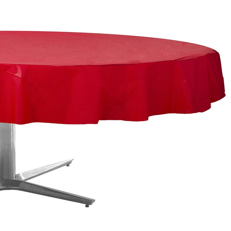 Tablecloth Now Available In Bulk! 3 Pack Strong Reusable Medium Weight Red 84 Inch Round Plastic Table Covers