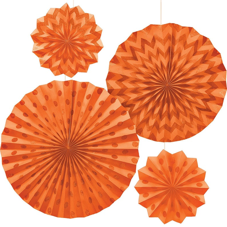 Perfect Party Decor Set Of 4 Orange Glitter Polka Dot /& Chevron Paper Fan Hanging Decorations in 3 Sizes