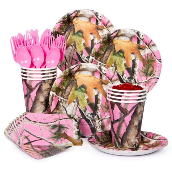 63 Pc Pink Camo Baby Girl Shower Disposable Tableware  Etsy-1704