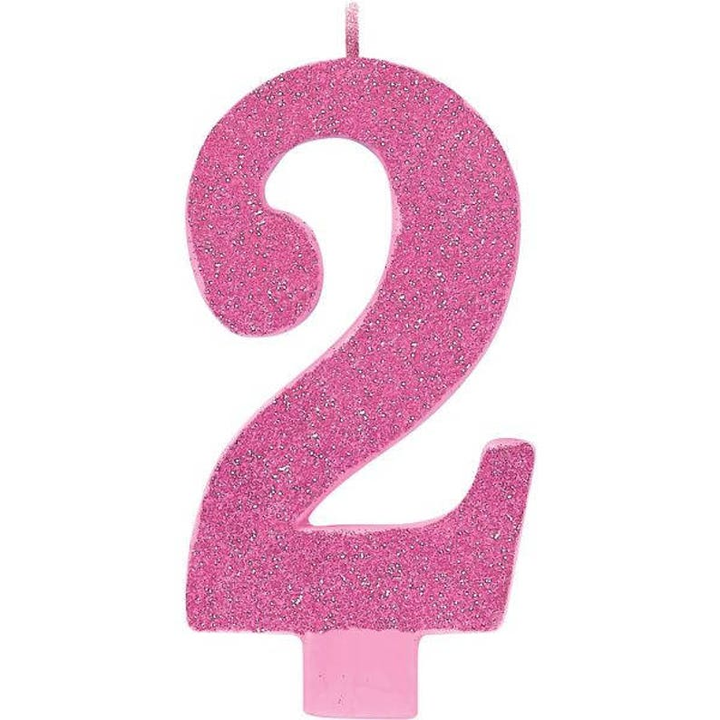 Giant 5 Inch Tall Pink Glitter Number Two Candle Girl 2nd
