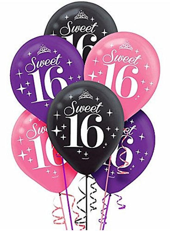 Pack Of 6 Colorful Glimmer Shine 16th Birthday Balloons