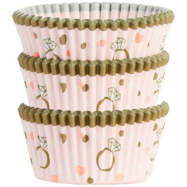 75 Ct Sparkly Gold & Pink Wedding Baking Cups - Cupcake Liners - Standard 2 Inch Fancy Cupcake - Wedding - Shower - Anniversary - Birthday