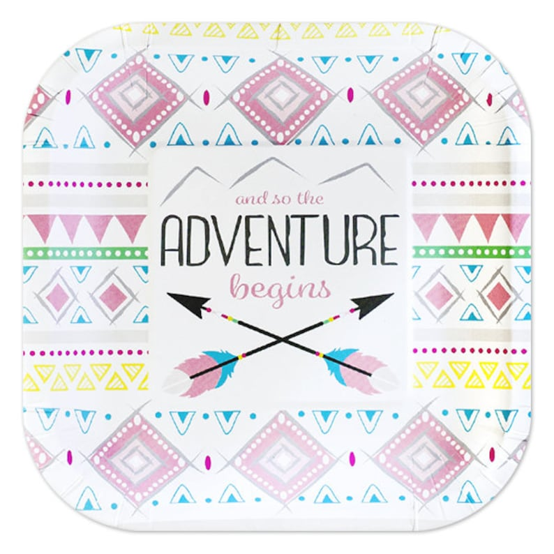 Service For 24 Adventure Begins Girl Pink Boho Tribal Baby Shower Premium Tableware Celebration Set With Balloon Bouquet
