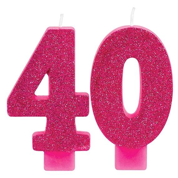 Glistening Pink Glitter 40th Birthday Candle Set