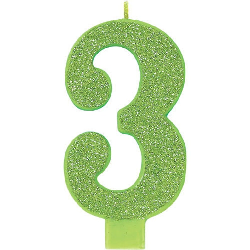 Giant 5 Inch Tall Green Glitter Number Three Candle
