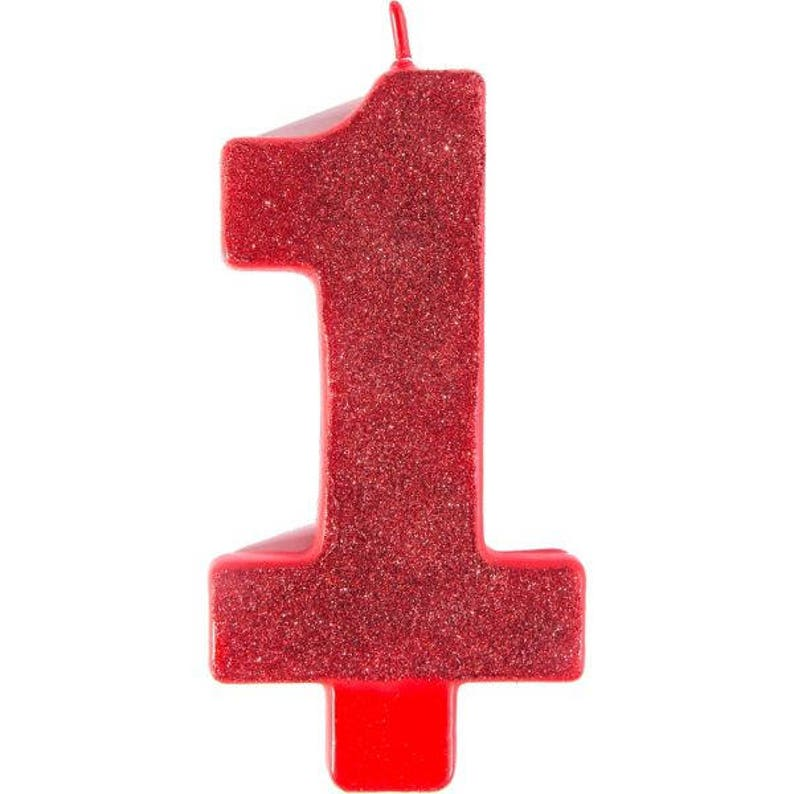 Giant 5 Inch Tall Red Glitter Number One Candle 1st Birthday