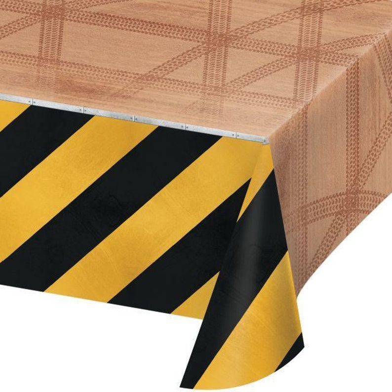 Matching Tableware In This Shop! 54 x 102 Inch Disposable Plastic Table Cover Big Dig Construction Party Theme
