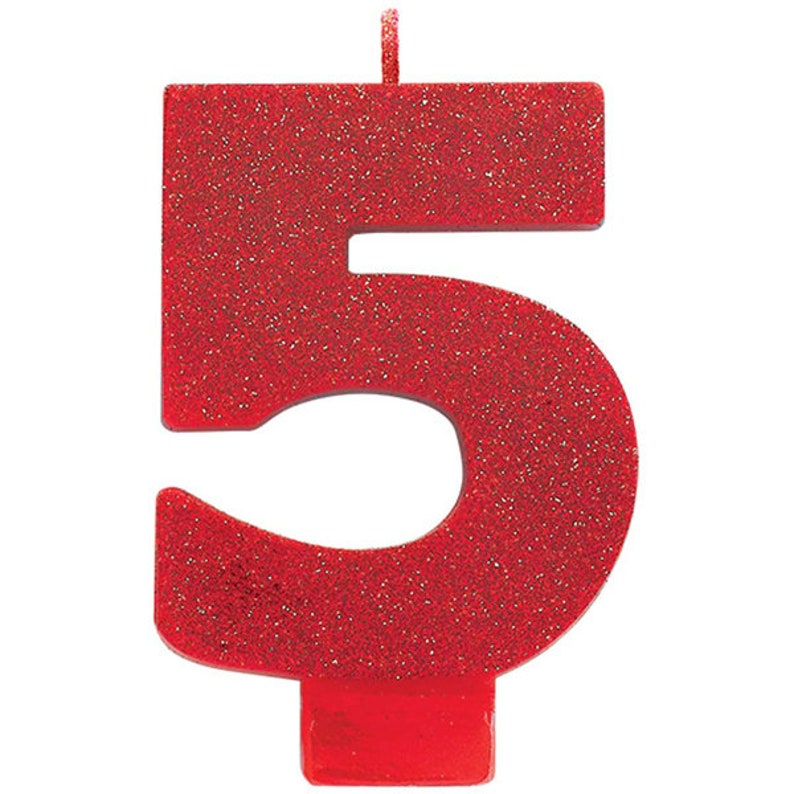 Large 3 1 2 Inch Tall Red Glitter Number Five Candle 5th