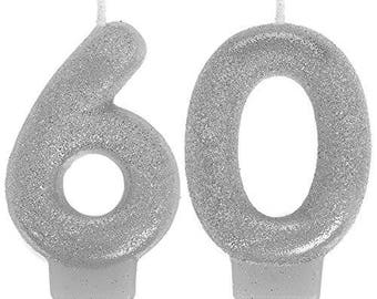 Glistening Silver Glitter 60th Birthday Candle Set - 60th Birthday Or Anniversary Celebration Cake Topper - Candles