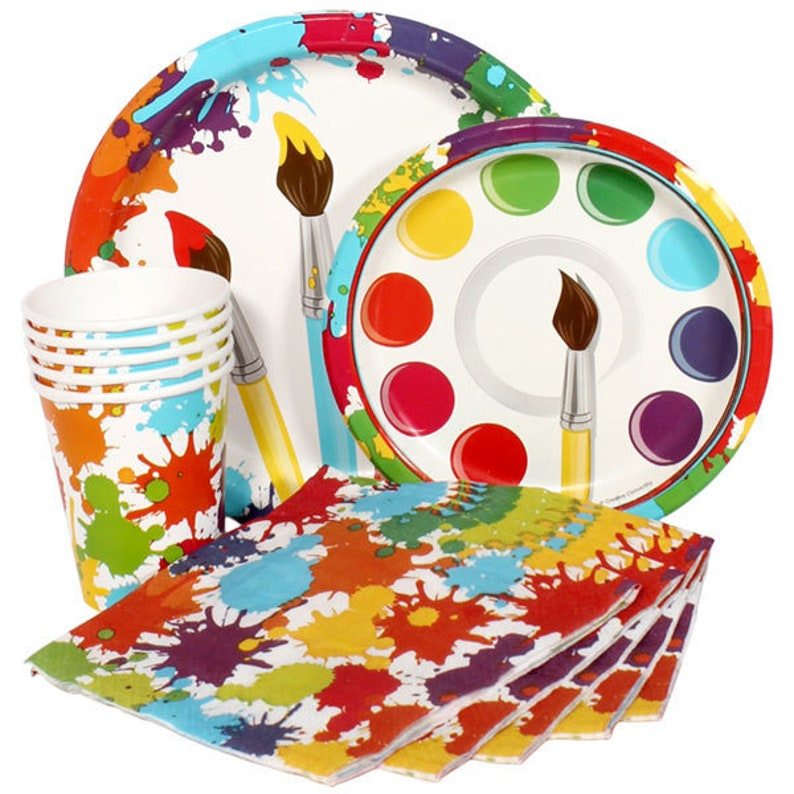 Includes Table Cover /& Balloons! Colorful Art Painting Birthday Party Theme Tableware Set Service For 16