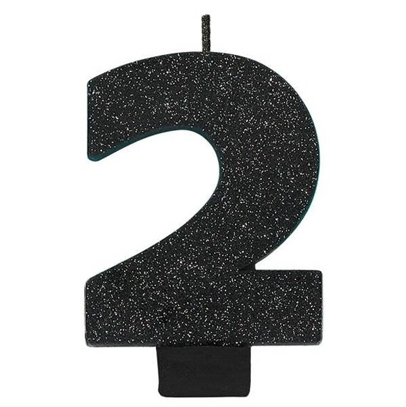 Large 3 1 4 Inch Tall Glistening Black Glitter Birthday Cake