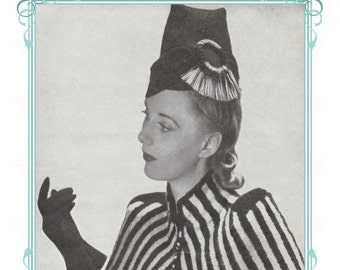 1940s Fez style Hat sewing pattern- full size paper pieces