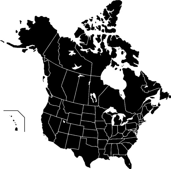 Map Of Canada Silhouette.Canada And Usa Silhouette Map