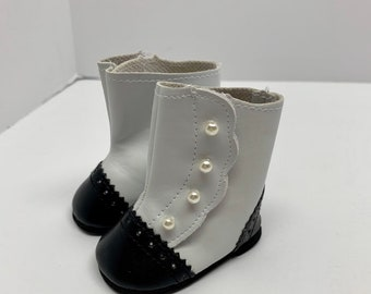 """Black /& White Victorian Boots made for 18/"""" American Girl Doll Clothes"""