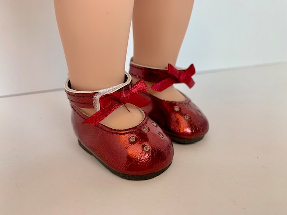 """Burgundy Mary Jane Dress Shoes Fits 14.5/"""" Wellie Wisher American Girl Doll Shoes"""